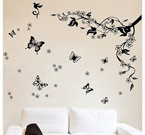 Walplus Removable Vinyl Dancing Butterflies and Tree Branch Wall Sticker Mural Decal Art