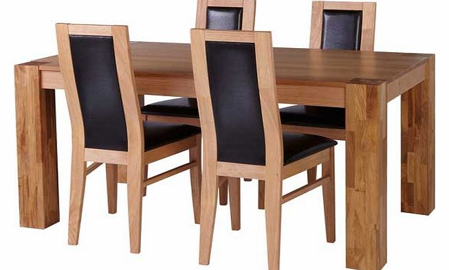 Oak Dining Table and 4 Chocolate Chairs