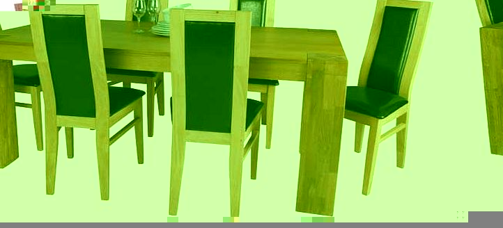 Oak Dining Table and 6 Black Chairs