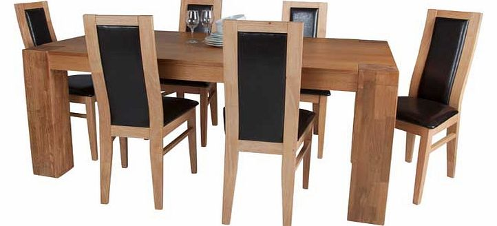 Oak Dining Table and 6 Chocolate Chairs
