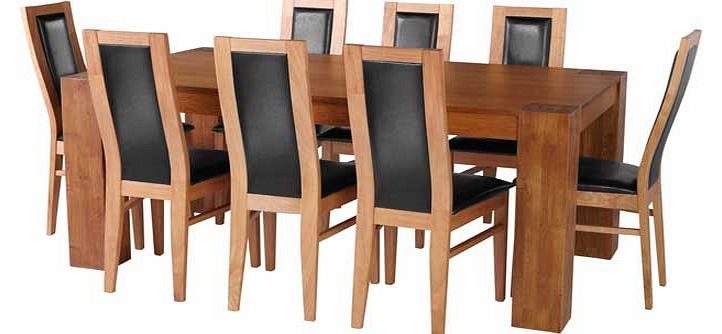 Oak Dining Table and 8 Black Chairs