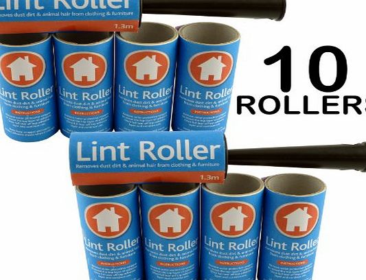We Search You Save Brand New - 2 x LINT ROLLERS   10 STICKY REPLACEMENT HEADS - Easy to Use Lint Roller - Pet Hair amp; Fluff Remover - Simply Removes the Dust / Dirt amp; Animal Hairs from Clothing amp; Furniture