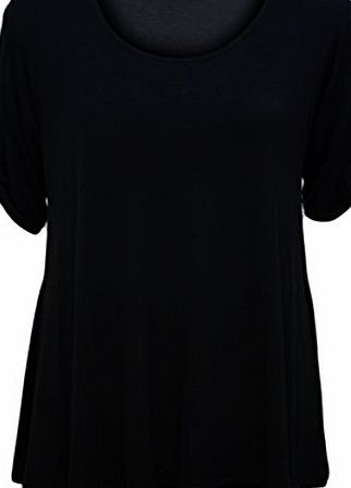 WearAll Womens Plus Size Scoop Neck Short Sleeve Flared Ladies Long Plain Top - Black - 20