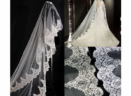 Wedding Veil Top-level 3 Meter Long Single-layer Embroidery Lace Edge Romantic Bridal Wedding Veil White