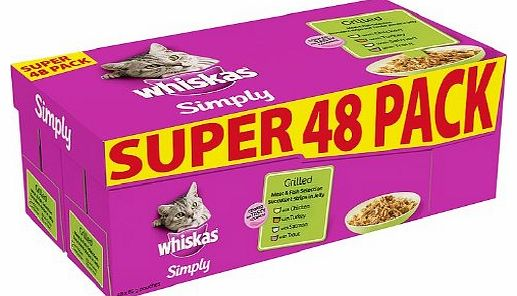 Whiskas Pouch Simply Grilled Meat and Fish 48 x 85 g pouches