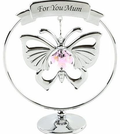 Crystocraft Keepsake Gift Ornament - For You Mum Pink Butterfly with Swarvoski Crystal Elements