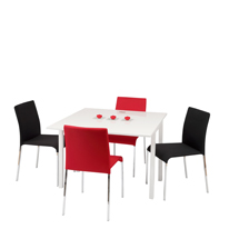 Manitoba Dining Set with Red and Black Chairs