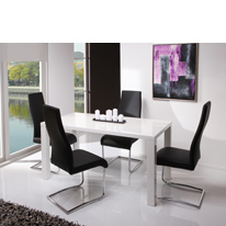 Somma Dining Set in White High Gloss with Black