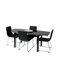Vitcos Black Glass Dining Set with Black Chairs