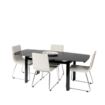 Vitcos Black Glass Dining Set with White Chairs