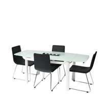 Vitcos White Glass Dining Set with Black Chairs