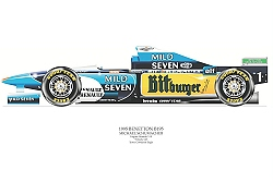 David Wilson- Benetton B195- Michael Schumacher- signed by artist Measures 48cm x 32cm (19``x13``)