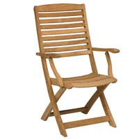 Folding Dining Chair with Arms Teak