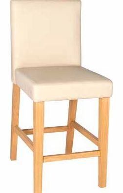 Cream Oak Stain Leather Effect Bar Stool