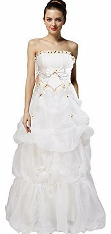 WitBuy Pick Up Organza Bridal Gown with Flower and Bowknot
