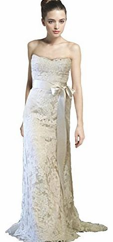 WitBuy Womens Strapless Mermaid A-line Lace Wedding Dress Bridal Gown