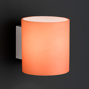 aqaba modern nickel matt wall light with an orange glass shade