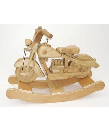 NATURAL WOOD ROCKING MOTORBIKE