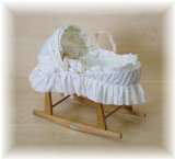 Cream B.A Dolls Toy Moses Basket and Beech Rocking Stand