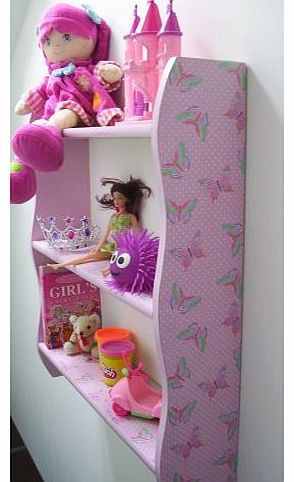 70cm H GIRLS BEDROOM PINK POLKA BUTTERFLY SHELVES, GIRLS SHELVES, SHELF, TOY STORAGE, BOOKCASE.
