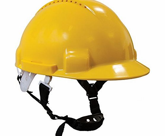 WW197 Scaffolders Climbers Climbing Safety Helmet Hard Hat With Chin Strap (Yellow)