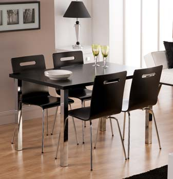 Loco Rectangular Dining Set in Black with 4 Chairs