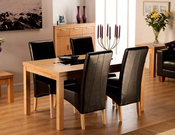 Milagros Rectangular Dining Set in Oak with 4