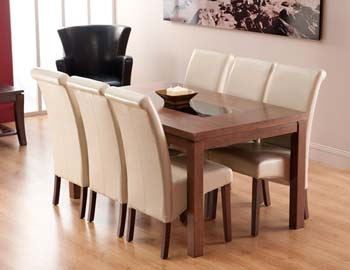 Salgo Rectangular Dining Set in Walnut with 6