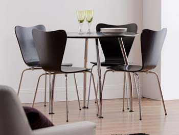 Tango Dining Set in Black with 4 Chairs