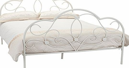 Arabella Stone White Bed Frame and Prince Mattress with Rebounce - 4FT6 Double Bed with Mattress Set - Stone White Metal Bedstead - Sprung Slats - Wrought Iron Bed Base - Coil Sprung and Reflex Foam M