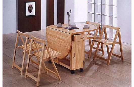 Butterfly Drop Leaf Dining Table with 4 Chairs - 4 Seater Dining Set - Folding Dining Table - 4 Folding Dining Chairs - Oak Finish
