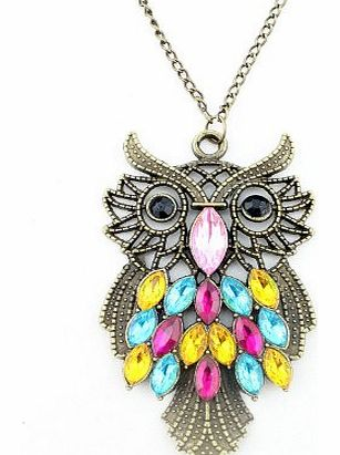 Fashion Vintage Bronze Style Owl Bird Animal Pendants Long Chain Necklace,free shipping