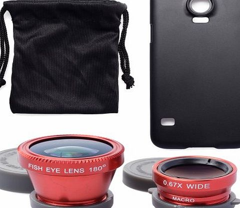 3in1 Wide Macro Lens + Red Phone Camera 180 degree Fisheye Lens + Case Cover For Samsung Galaxy S5 V i9600 STREET SNAP! DC473