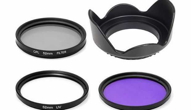 Lens Hood + UV + CPL + FLD Filter for Nikon Panasonic Lumix D7100 D7000 D5200 D5100 D3200 D3100 D3000 D90 Or for Canon 70D 60D 700D 650D 1100D 1000D 600D 50D 550D (52mm)