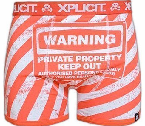Mens Boys Xplicit Designer Novelty Rude Boxer Trunks Shorts Underwear Funny Gift (Warning Private Property Keep Out Authorised Personnel Only Or If You Have Really Big Boobs) (L, Orange)