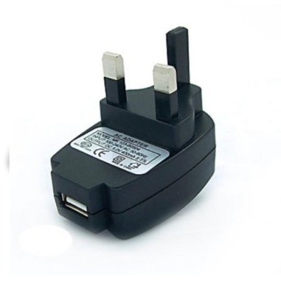 BLACK 3 PIN 1000mA USB Power Adapter Mains Charger UK wall plug for MP3 players, iPods, Mobile Phones, PDAs and Digital Cameras. Part of the XYLO ACCESSORIES RANGE.