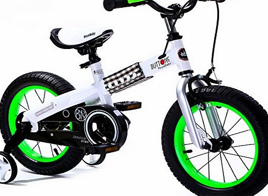 R BABY 16`` BUTTONS FREESTYLE BMX KIDS BIKE IN COLOUR WHITE FRAME-GREEN RIM + free heavy duty adjustable removable stabilisers. (WHITE FRAME-GREEN RIM, BUTTON-16``)