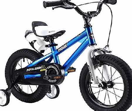 U BABY 12`` INCHES FREESTYLE BMX KIDS BIKE IN COLOUR RED GREEN BLUE AND WHITE + free heavy duty adjustable removable stabilisers+ free sports drink bottle and holder (12blue)