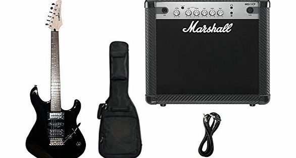 TG121U Black Electric Guitar & Marshall MG15CF Guitar Amplifier Beginners Package Deal Including Gigbag & Guitar Lead