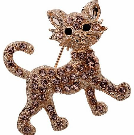 YAZILIND  Jewelry Fashion Gold Plated Carved Full Brown Crystal Cat Brooches and Pins Bridal for Women Gift