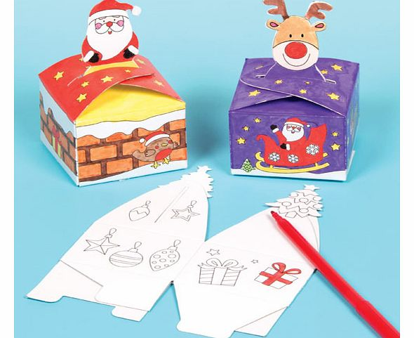 Christmas Colour-in Gift Boxes - Pack of 12