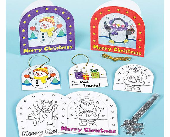 Christmas Glitter Snowstorm Card Kits - Pack of 6