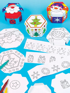 Colour-in Christmas Boxes
