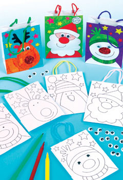 Colour-in Mini Christmas Gift Bags