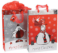 Snowman/Robin Bags with Tissue Paper