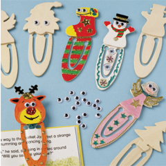 Wooden Wiggle-Eye Xmas Clip Bookmarks