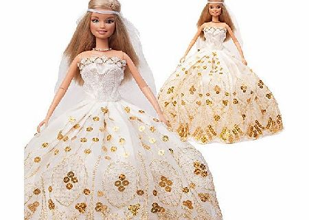 Yiding Sleeveless Fur Capelet and Princess Wedding Party Dress Clothes for Barbie Doll