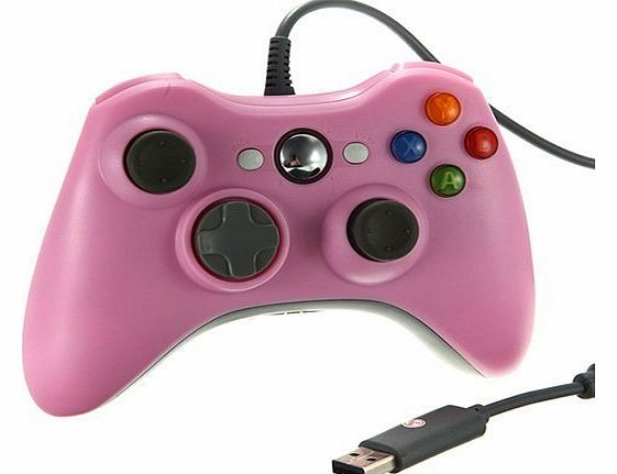 TM) Wired USB Game Pad Controller Joypad for Microsoft XBOX 360 Console & PC Windows 7 XP VIDEO GAMES ACCESSORY (Color) (Pink)