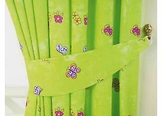 Girls Lime Green Fairytale Princess Butterfly Bedroom Curtains 66``x 54``
