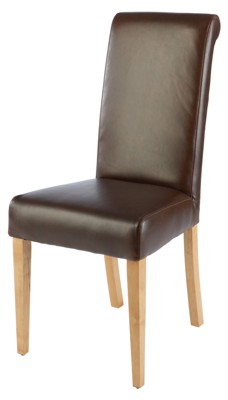 Boston Leather and Oak Scroll Top Chair by CPW